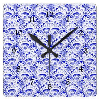 Elegant Royal Blue White Lace Damask Pattern Square Wallclocks