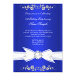 Elegant Royal Blue White Pearl Jewel Bow Birthday 5x7 Paper Invitation Card