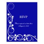 "Elegant Royal Blue White Swirls RSVP / Reply Card 4.25"" X 5.5"" Invitation Card"