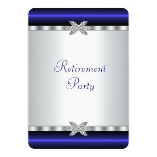Elegant Royal Blue Womans Retirement Party 5x7 Paper Invitation Card