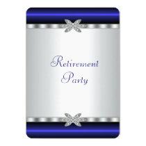 Elegant Royal Blue Womans Retirement Party Card