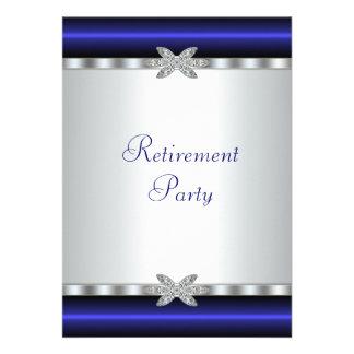 Elegant Royal Blue Womans Retirement Party Custom Invite