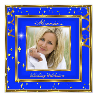 Elegant Royal Cobalt Blue Gold Photo Birthday Card