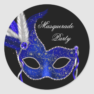 Elegant Royal Navy Blue Masquerade Party Stickers
