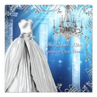 Elegant Royal Navy Blue Quinceanera Card