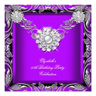 Elegant Royal Purple Black Silver Birthday Party Card