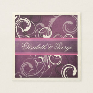 Elegant Royal Purple Grunge Damask Swirls Wedding Napkin