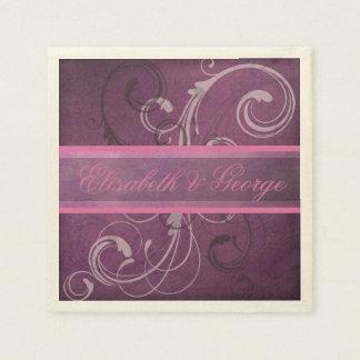 Elegant Royal Purple Grunge Damask Swirls Wedding Napkin