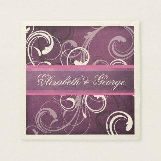 Elegant Royal Purple Grunge Damask Swirls Wedding Paper Napkins