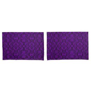 Elegant Royal Purple Lace Print Pillowcase Pair