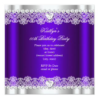Elegant Royal Purple Lace Silk Birthday Party 5.25x5.25 Square Paper Invitation Card