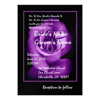 Elegant ROYAL PURPLE Rosebud Wedding Invitation