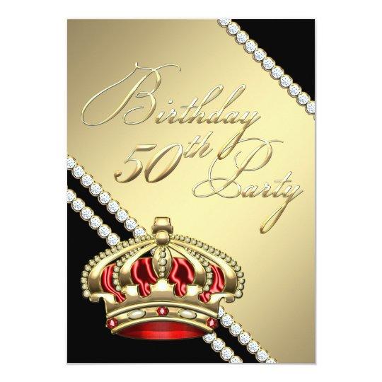 Elegant Royal Queen Crown 50th Birthday Party Card
