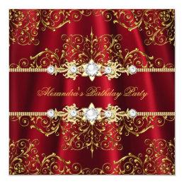 Elegant Royal Red & Gold Damask Birthday Party Card