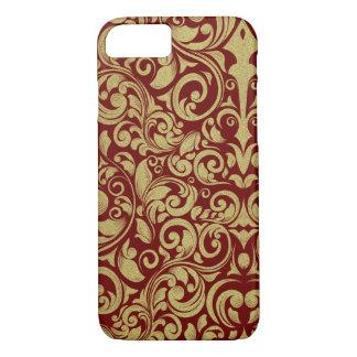 Elegant Royal Red Gold Glitter Damask Floral iPhone 7 Case