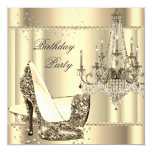 Elegant Royal Sepia Gold Cream Chandelier Party 5.25x5.25 Square Paper Invitation Card