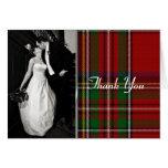 Elegant Royal Stewart Plaid Photo Thank You Card Card