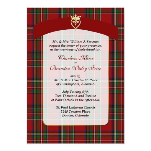 Elegant Royal Stewart Plaid Wedding Invitation