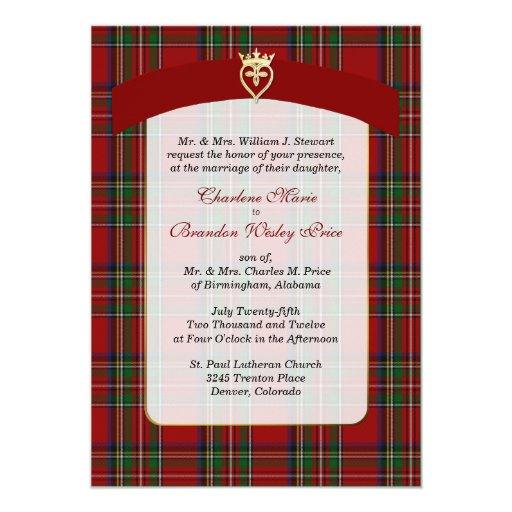 Elegant Royal Stewart Plaid Wedding Invitation Zazzle