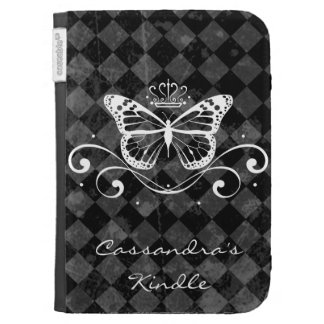 Elegant Royal White Butterfly with name Kindle Cover