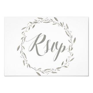 Elegant RSVP Cards For Wedding With Grey Wreath
