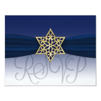 Elegant RSVP Gold Star Navy + Any Color Card