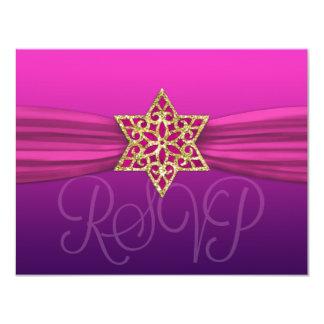 Elegant RSVP Gold Star Pink +Dark Color Card