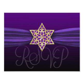 Elegant RSVP Gold Star Purple + Dark Color Card