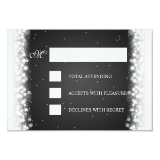Elegant RSVP Magic Sparkle Black Card