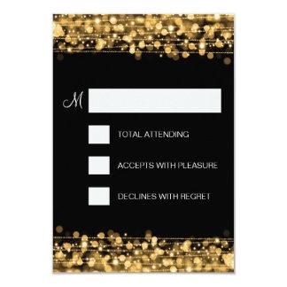 Elegant RSVP Party Sparkles Gold 3.5x5 Paper Invitation Card