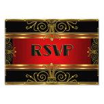 Elegant RSVP Red Black Gold Art Deco Card