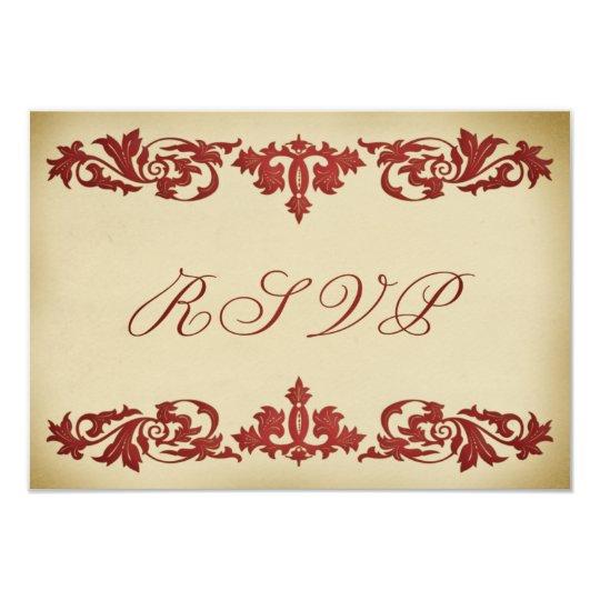 Elegant RSVP Response Cards Vintage Leaf Scroll