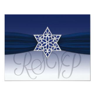 Elegant RSVP Silver Star Navy + Any Color Card