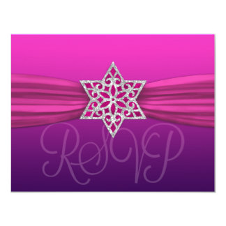 Elegant RSVP Silver Star Pink +Dark Color Card