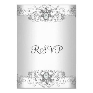 Elegant RSVP Silver White Diamond Card