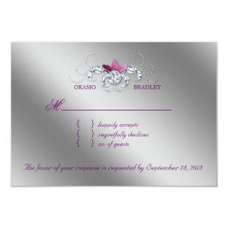 Elegant RSVP Wedding Reply Card Sparkle Purple Lea