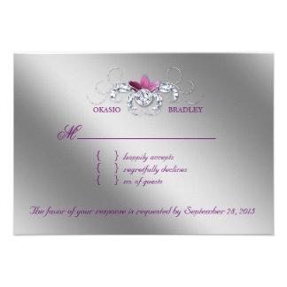 Elegant RSVP Wedding Reply Card Sparkle Purple Lea Custom Invitations