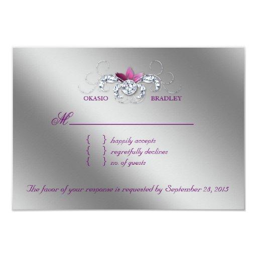"Elegant RSVP Wedding Reply Card Sparkle Purple Lea 3.5"" X 5"" Invitation Card"