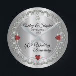 "Elegant Ruby | Diamonds 40th Wedding Anniversary Round Clock<br><div class=""desc"">Opulent elegance frames this 40th wedding anniversary design in a unique scalloped diamond design with center teardrop diamond with heart-shaped ruby accents and faux added sparkles on a silver-tone gradient. Please note that all embellishments are printed and are only made to appear as real as possible in a flat, printed...</div>"
