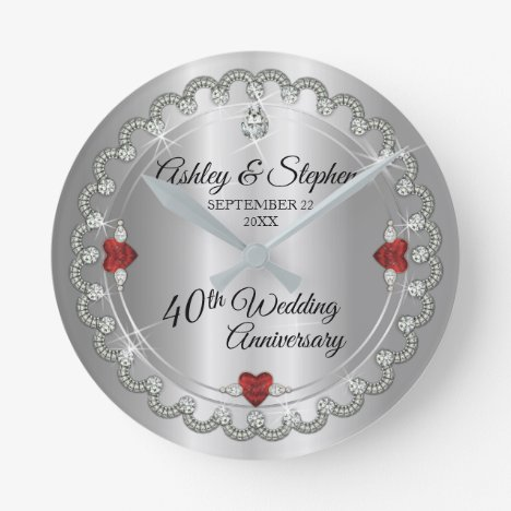 Elegant Ruby | Diamonds 40th Wedding Anniversary Round Clock
