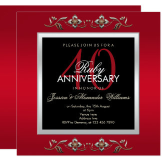 Elegant Ruby Jewels 40th Wedding Anniversary Card
