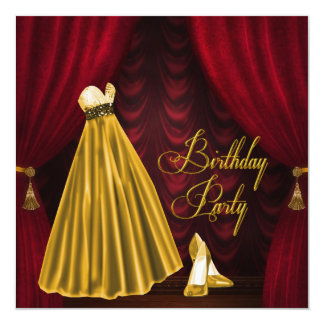 Elegant  Ruby Red and Gold Birthday Party Personalized Announcements