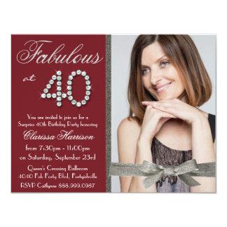 Elegant Ruby Red Glitter Rhinestone Fab 40 Photo Card