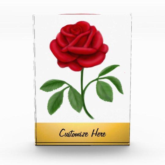Elegant Ruby Red Rose Customizable Award