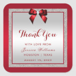 Elegant Ruby Red & Silver Glitter Birthday Square Sticker