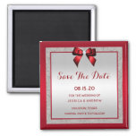 Elegant Ruby Red & Silver Glitter Save The Date Magnet