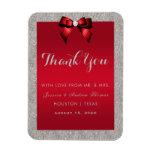 Elegant Ruby Red, Silver Glitter Wedding Magnet