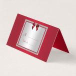Elegant Ruby Red & Silver Glitter Wedding Place Card
