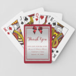 Elegant Ruby Red & Silver Glitter Wedding Playing Cards