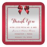 Elegant Ruby Red & Silver Glitter Wedding Square Sticker